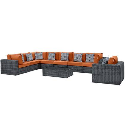 Modway Summon Collection EEI-2400-GRY- 7-Piece Outdoor Patio Sunbrella Sectional Set with Armchair, Coffee Table, Corner Chair, Left Arm Loveseat, Right Arm Loveseat and 2 Armless Chairs in