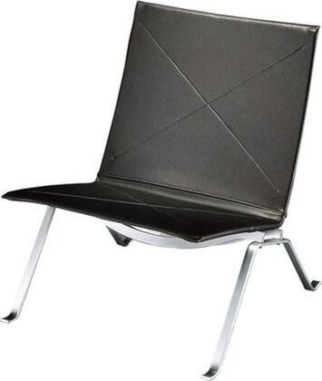 Fine Mod Imports FMI10042BLACK Pika Series Leather Lounge with Metal Frame in Black