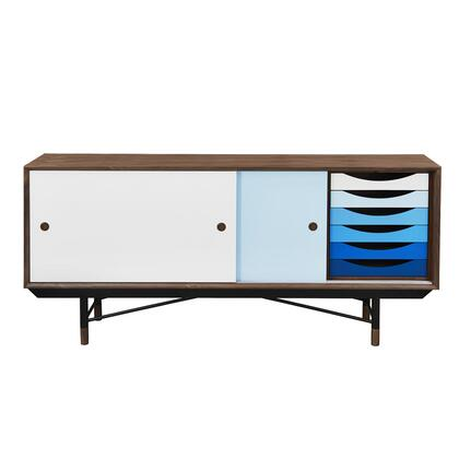"EdgeMod Kleur Collection 77"" Sideboard Credenza with 2 Sliding Doors, 6 Small Drawers, Steel Legs, Metal Base Rails and Walnut Wood Veneers"
