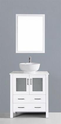 "Bosconi AW130ROXX XX"" Single Vanity with Phoenix Stone Counter Top, Round Ceramic Vessel Sink, Matching Mirror, X Soft Closing Drawers, Cabinet, and Silver Hardware Finish in White Finish"