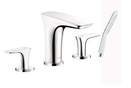 Hansgrohe 15446 Double Handle Four Hole Roman Tub Filler Faucet from the PuraVida Collection: