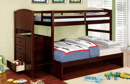 Furniture of America CMBK922FEXBED Appenzell Series  Twin over Full Size Bunk Bed