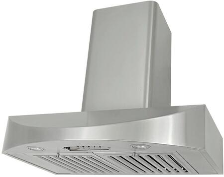 Kobe CHX38 Wall Mount Range Hood With 650 CFM Internal Blower, 3 Speeds, Mechanical Push Button Control, LED lights, Dishwasher safe professional baffle filters and QuietMode in Stainless Steel