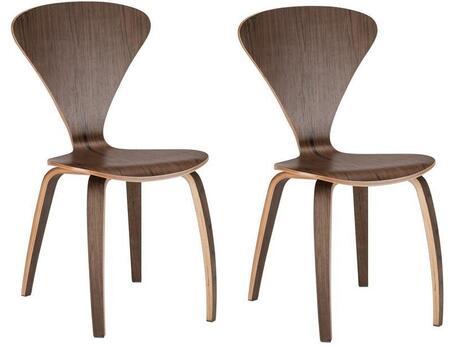 EdgeMod EM186WALX2 Sofia Series Modern Wood Frame Dining Room Chair