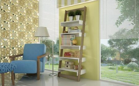 """Accentuations Carpina Collection 20AMCXX 70"""" Ladder Shelf with 5-Tier Leaning Wall Shelf and Modern Style in"""