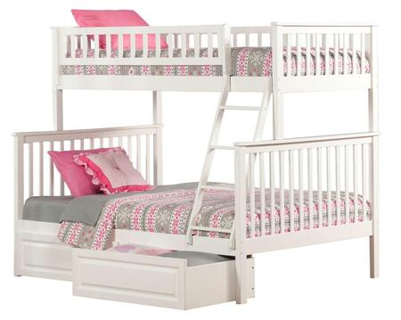 Atlantic Furniture AB5622 Woodland Bunk Bed Twin Over Full With Raised Panel Bed Drawers