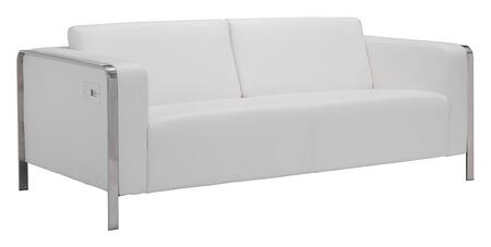 "Zuo 10038 Thor Collection 72"" Sofa with Chrome Base, USB Charging Ports and Leatherette Upholstery"