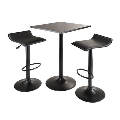 Winsome 2032X 3pc Table Set, Square Table Counter Height with 2 Stools in Black Finish