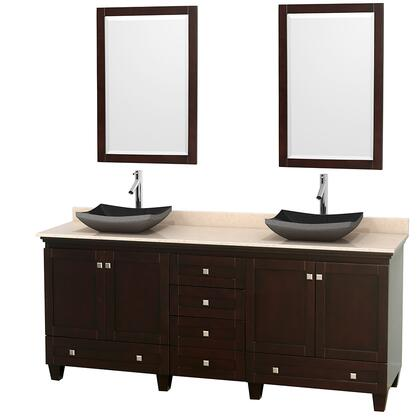 "Wyndham Collection Acclaim 80"" Double Bathroom Vanity with 4 Doors, 6 Drawers, 2 Mirrors, Brushed Chrome Hardware, Ivory Marble Top and Altair Black Granite Sinks in"