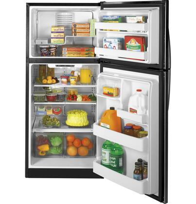 GE GTH18ISDSS Freestanding Top Freezer Refrigerator with 18 cu. ft. Total Capacity 3 Glass Shelves 5.09 cu. ft. Freezer Capacity