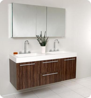 """Fresca Opulento Collection FVN8013 54"""" Modern Double Sink Bathroom Vanity with Medicine Cabinet, 2 Soft Closing Doors and Integrated Acrylic Countertop and Sink in"""