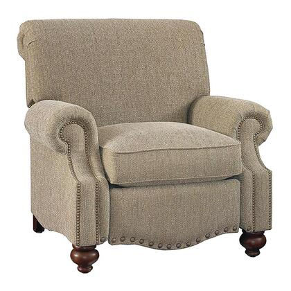 """Bassett Furniture Club Room Collection 3991-3FC/FC118-x 43"""" Recliner with Fabric Upholstery, Antique Brass Nail Head Trim and Traditional Style in"""