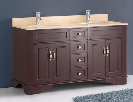 """Bosconi A5092 59"""" Double Vanity with X Marble Top, Matching Backsplash, 2 Full Cabinets, 4 Soft Closing Drawers, Dual Sinks, Bronzed Brass Hardware, and Faucets Not Included in"""