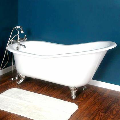 """Cambridge ST61NH Cast Iron Slipper Clawfoot Tub 61"""" x 30"""" with No Faucet Drillings"""