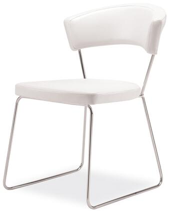 Modloft MD611WHT Delancy Series Modern Leather Metal Frame Dining Room Chair