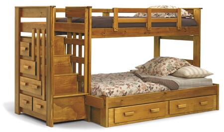 Chelsea Home Furniture 36500X Twin Over Full Bunk Bed with Stairway Chest, Optional Underbed Storage, Plantation-grown Pine, Ladder, and Stained Finish in Honey