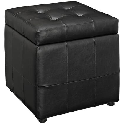 "Modway Volt Collection 16"" Storage Ottoman with Lift-Up Lid Storage, Plastic Glides, Hardwood Frame and Faux Leather Upholstery in"