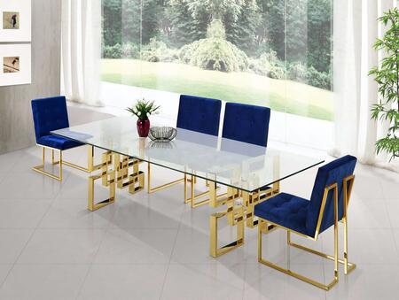 Meridian MER5PCRECDH4BLUKIT4 Pierre Dining Room Sets