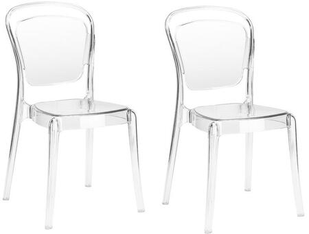 "EdgeMod Lucent Collection 20.5"" Dining Side Chair with Non Marking Feet, Tapered Legs and Polycarbonate Material in Clear Color"