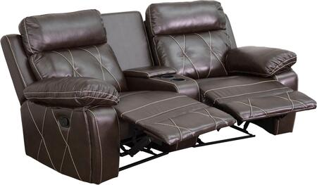 Flash Furniture BT705302CVGG Real Comfort Series 2-Seat Reclining Leather Theater Seating Unit with Curved Cup Holders