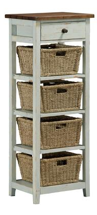 Hillsdale Furniture 942W Tuscan Retreat Open Side Stand with 4 Baskets, 1 Drawer, Tapered Legs and Solid Pine Timber Construction in