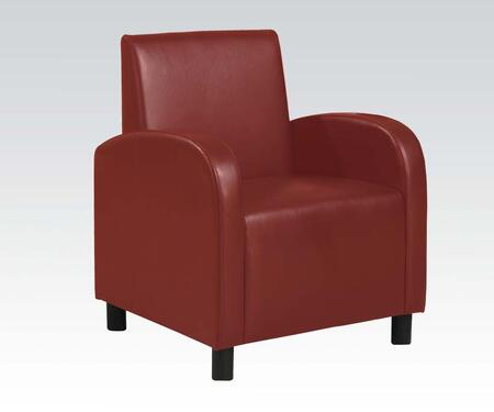 """Acme Furniture Maxie Collection 28"""" Accent Chair with Solid Wood Frame, Curved Arms and PU Leather Upholstery in"""