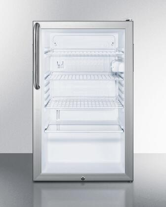"Summit SCR450LBI7TX 20"" Commercially Approved Compact Refrigerator with 4.1 cu. ft. Capacity, Interior Light, Glass Door and 100% CFC Free, in Grey"