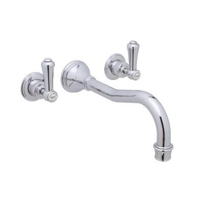 Rohl U.3783LSP- Perrin and Rowe Collection Georgian Era 3-Hole Wall Mount Column Spout Bath Set w/Lever Handles: