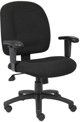 "Boss B495 37"" Mid-back Task Chair with Adjustable Arms, 25"" Five Star Base, Hooded Double Wheel Casters, Seat Height Adjustment and Adjustable Tilt Tension Control"