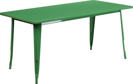 """Flash Furniture ET-CT005 63"""" Rectangular Metal Indoor-Outdoor Table with Powder Coat Finish, Protective Rubber Glides and Brace in"""