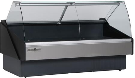 Hydra-Kool KFMCGxS Curved Glass Deli Case with cu. ft. Capacity, HP, Designed for Fresh Meat, in Black
