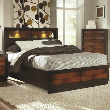 Coaster 202911 Rolwing Bed with Storage Headboard, Footboard & Wooden Base and Side Rails in Two Tone Reddish Oak and Espresso Finish