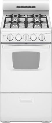 "Amana AGG222VDW 20""  White Gas Freestanding Range with Sealed Burner Cooktop, 2.6 cu. ft. Primary Oven Capacity, Broiler"