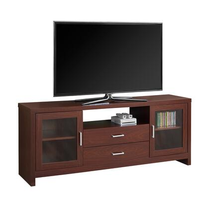 "Monarch I27160TV 60"" TV Stand with 2 Drawers, 2 Glass Doors with Adjustable Shelf and Open Shelf in"