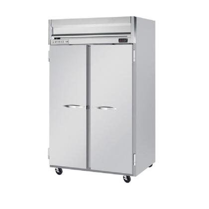 "Beverage-Air HFS2-1 52"" Horizon Series Two Section [Solid Door] Reach-In Freezer, 49 cu.ft. Capacity, Stainless Steel Front, Gray Painted Sides and Stainless Steel Interior"