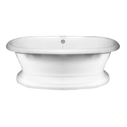 """Barclay ATDR71BB Cordoba 71"""" Acrylic Double Roll Top Soaking Tub, with White Tub Finish, with Pedestal Base in White Finish,"""
