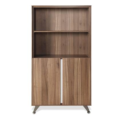 "Unique Furniture 300 Collection 32"" Bookcase with 2 Doors, Adjustable Shelf, No Scratch Surface, Commercial Grade, Chrome Base and High Pressure Melamine Material in"