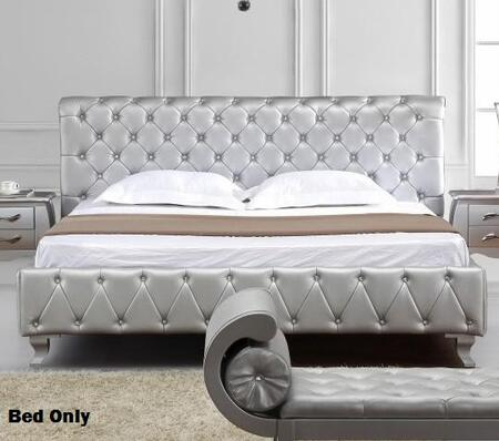 VIG Furniture VGKCMONTEPLATINUM Modrest Monte Carlo Platinum Edition Panel Bed with MDF Frame, Crystals, Removable Solid Wood Legs, High-Resiliency Foam and PVC Upholstery in Silver