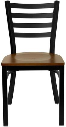 """Flash Furniture XU-DG697BLAD-BAR-W-GG Hercules Series 43"""" Black Ladder Back Metal Restaurant Barstool, Two Welded Support Bars, Includes a Footrest, Simple and Lightweight Design"""