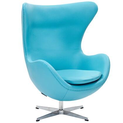 Modway EEI528BBL Lounge Leather Fiberglass Frame Accent Chair