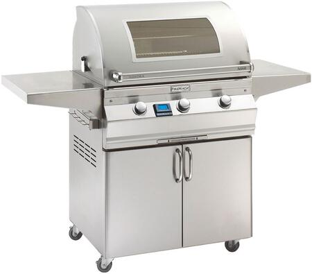 """FireMagic A660S5E1X61W Aurora 63"""" Cart with 30"""" Liquid Propane Grill, E Burners, Magic View Window,  2 Fold Down Shelves, Digital Thermometer, and Up to 75000 BTUs Heat Output, in Stainless Steel"""