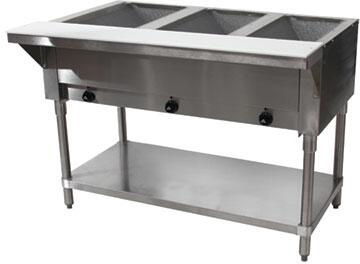Advance Tabco SW3E Sealed Electric Hot Food Table with Drain and Undershelf in Stainless Steel