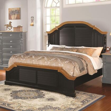 Coaster 203180 Oleta Size Panel Bed with Arched Shutter Detail, Wood Veneers and Solids in Black and Oak Finish
