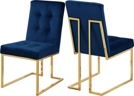 """Meridian Pierre Collection 714X-C 37"""" Dining Chair with Plush Velvet Upholstery, Rich Gold Stainless Steel and Contemporary Style in"""