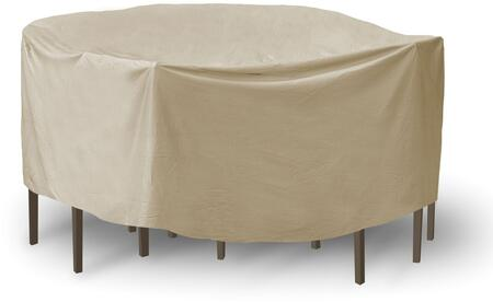 """PCI by Adco 92"""" x 40"""" Round Table and Chair Set Covers with Secured Velcro Ties and Heavy Duty Vinyl Fabric in"""
