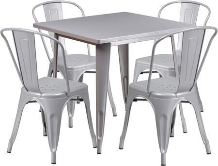 Flash Furniture ETCT002430SILGG Square Shape Patio Sets
