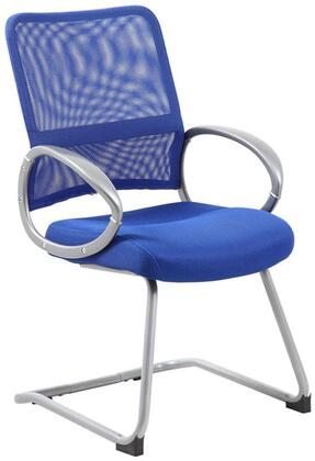"""Boss B6419 39"""" Mesh Back Guest Chair with Pewter Finished Loop Arms, and Metal Pewter Finished Cantilever Base"""
