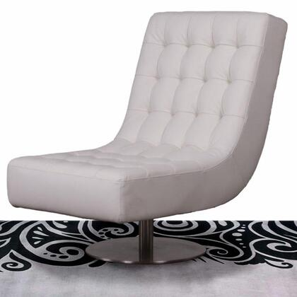Diamond Sofa JAZZW Leather Lounge with Metal Frame in White