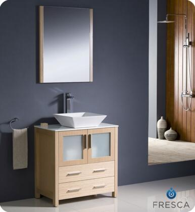 "Fresca Torino Collection FVN6230XX-VSL 30"" Modern Bathroom Vanity with Vessel Sink, Mirror and 2 Soft Closing Drawers in"