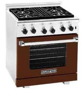 American Range ARR304LHB Heritage Classic Series Liquid Propane Freestanding Range with Sealed Burner Cooktop, 4.8 cu. ft. Primary Oven Capacity, in Brown